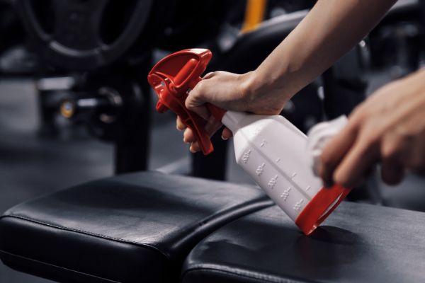 Cleaning gym equipment